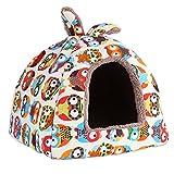 Delaman Premium Hundebett süße Katzenhöhle Plüsch mit Eulen-Cartoon-Muster für Haustier Hund Katze Kaninchen Soft Bett Haus Indoor zum schlafen, Waschbar (Size : M)