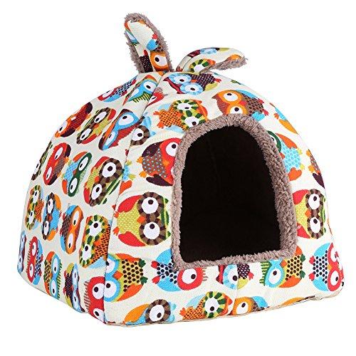 Delaman® Premium Hundebett süße Katzenhöhle Plüsch mit Eulen-Cartoon-Muster für Haustier Hund Katze Kaninchen Soft Bett Haus Indoor zum schlafen, Waschbar ( Size : M ) Katze Eule