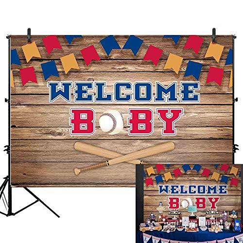 EdCott 7 x 5 ft Vintage Baseball Schüssel Baby Dusche Retro Holz braun Bord Wand Willkommen kleine Baby Fotografie Hintergrund Bunte Flagge Neugeborenen Jungen Geburtstag Sport Party Foto Dekoration
