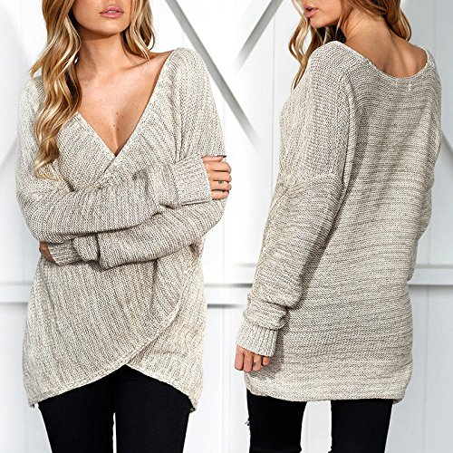 Top Femme Haut Femme Chic Sexy Sweater Col V Croisé en Tricot Pull Automne  Hiver Mode Automne Hiver Pull-Over Casual (XL, Kaki) ... e5e3478cfcd7