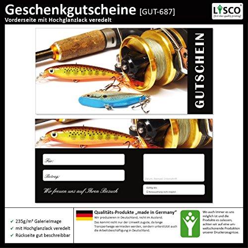 50 Stück Geschenkgutscheine (Angeln-687) Gutscheine Gutscheinkarten für Gastronomie Bereiche wie Restaurant Gaststätte Lieferdienst Fischhandel Anglerbedarf
