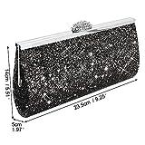 Wocharm Fashion Womens Glitter Clutch Bag Sparkly Silver Gold Black Evening Bridal Prom Party Handbag Purse (Black)