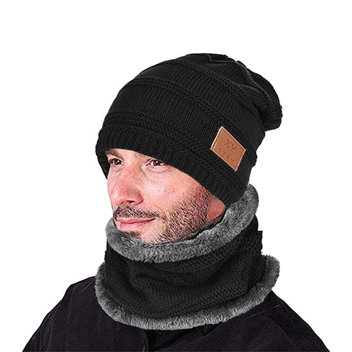 Kata-Berretto-Uomo-Invernali-Cappello-Beanie-in-Maglia-Sciarpe-da-Sci-con- Sciarpa-Cappello-Passamontagna-Nero-2 - Help Solution 627dcf216e6f