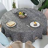 Nclon Volltonfarbe Baumwolle Leinen Tischdecke, Modernen Einfache Runden Esstisch Tischtuch tischwäsche, Textur Natürlichen Hohe Farbe Fasten-Grau Durchmesser 140cm