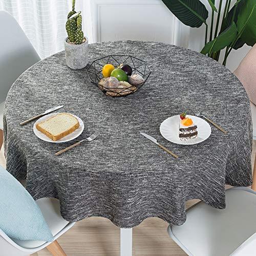 Nclon Volltonfarbe Baumwolle Leinen Tischdecke, Modernen Einfache Runden Esstisch Tischtuch...