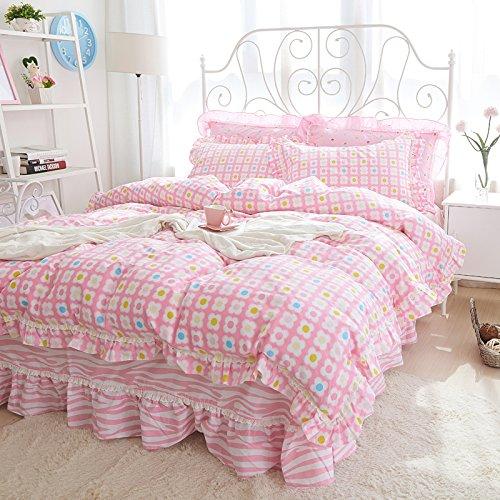 4 Stück Bettwäsche aus reiner Baumwolle Baumwolle Spitze Häcksler bed Rock idyllische Princess Wind 1.5/1.8m Kleine, frische, Bonnie, 1,2 Li