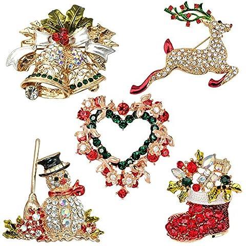semen Elegant Weihnachten Brosche Kristall bunt Xmas Geschenk Weihnachtsschmuck Set Ornaments 5pcs (5pcs)