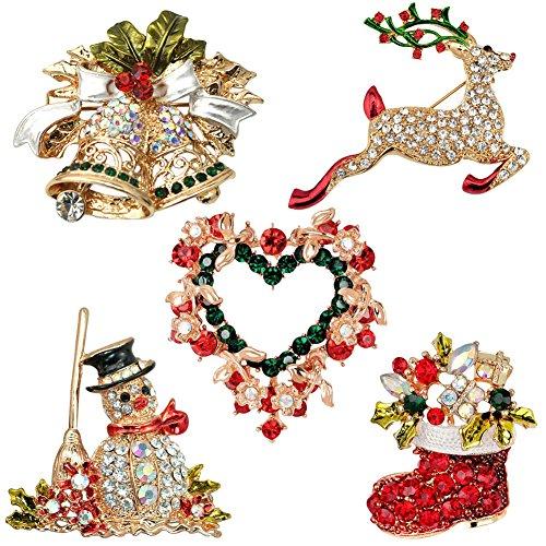 Boodtag Weihnachten Brosche Xmas Schmuck Schneemann Rentier Schelle Geschenk für Weihnachtsschmuck Ornaments (5pcs)