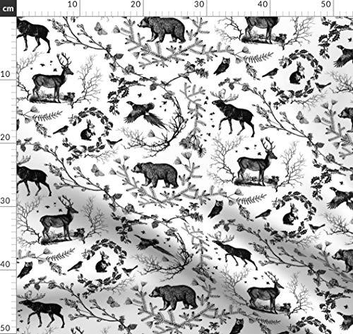Schwarz Toile Bettwäsche (Winter, Toile De Jouy, Wald, Schwarz Und Weiß Stoffe - Individuell Bedruckt von Spoonflower - Design von Nouveau Bohemian Gedruckt auf Bio Baumwollsatin)