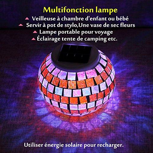 Solmore Veilleuse Solaire Boule Photophore Verre Lampe Led Mosaïque Y6gIb7fyv
