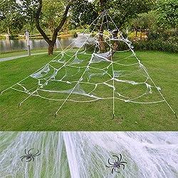 Halloween Spinnennetz Halloween Deko Outdoor Spinnennetz groß weiß fächerförmige Spinnwebe 7X5,5 m mit Spinngewebe 60g, geeignet für Garten, Hof, Themenpartys, Baum