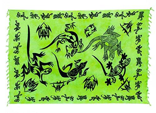 Riesen Auswahl - Sarong Pareo Wickelrock Strandtuch Tuch Wickeltuch Handtuch - Blickdicht - Handbedruckt inkl. Schnalle in runder Form Gecko Hell Grün