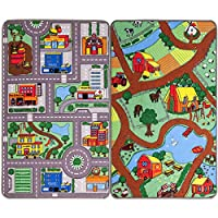 Reversible Road Map Farm Animal Cars Rug Play Mat 80cm x 120cm (2