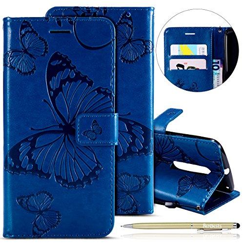 Herbests Kompatibel mit Leder Handy Schutzhülle Motorola Moto X Style Lederhülle Schmetterling Muster Leder Handyhülle Handytasche Brieftasche Ledertasche Bookstyle Flip Case Cover Klapphülle,Blau