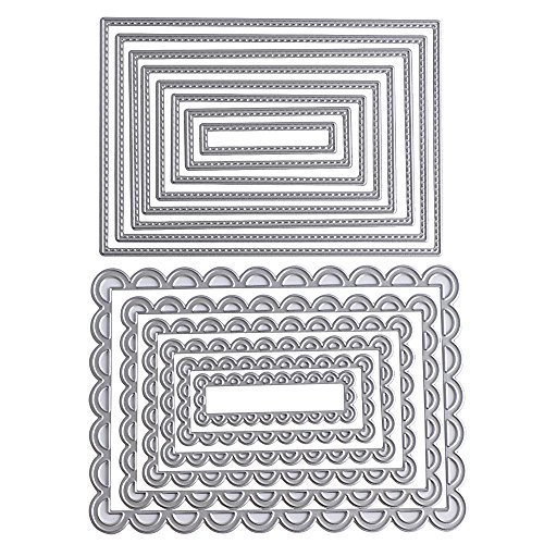 2 Set (14 Stück) Metall Rechteck Form Stanzschablonen Metall Schneiden Schablonen Stanzformen Silber für DIY Scrapbooking Album, Schneiden Schablonen Papier Karten Sammelalbum Deko