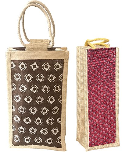 SEPAL Lunch Jute Bag, Combo Pack of Lunch & Water Bottle Bag for Office/School/Hospital/Travelling (Color & design May vary)