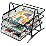 Skyfun Metal Mesh 3 Compartment Document Desk Organizer/Stationery Stand Tray for Office and Students