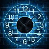 XSARUPIO Reloj de Pared de Moda Norse Rune Compass Reloj de Pared Luminoso con luz LED Runas vikingas Acrílico LED Edge Edge Reloj de Pared Hombre Cave Bar Iluminado Letrero
