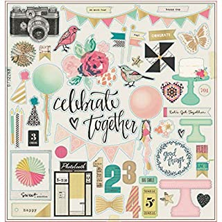 American Crafts Maggie Holmes Confetti Gold Foiled Chipboard 12-inch x 12-inch Accents