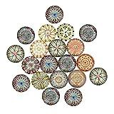 Homyl 20pcs Boutons Flatback Breloque Motif Fleur Pendentif en Verre pour Décoration Bricolage DIY Couture Mariage Multicolores - #1...