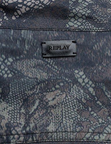 REPLAY Women's Women's Military Green-Black Shirt Grey