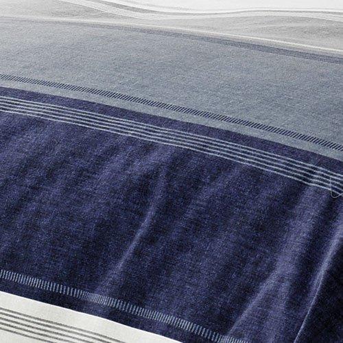 Mason Gray Fusion – Betley – Classic Wide Stripe Unlined Pencil Pleat Curtains – 66″ Width x 72″ Drop (168 x 183cm), Blue