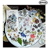 Vintage Ephemera Pack,Autocollants de Décoration de Style Floral de Plantes,Papier Cartonné Scrapbook/Lettres/Cahier/Carte Faisant 60 Pcs/Set
