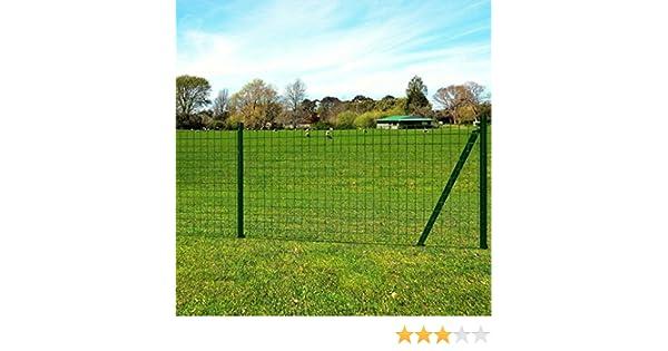 Tidyard Eurozaun-Set Gartenzaun mit Zaunpfosten Gitterzaun Stahl Maschendraht Robust Schutzzaun 25 x 1,2 m Maschenweite 100 x 100 mm PVC-Beschichtet Stahldraht Gr/ün