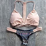 XJoel Frauen-Bikini-Verband Swimwear Bandeau Push-Up gepolsterter BH Badeanzug Bademode Rosa -