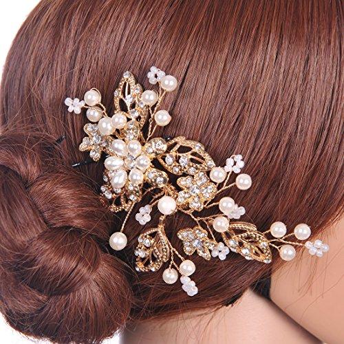 Remedios Gold Haarschmuck Braut Kamm Braut Kopfstück -