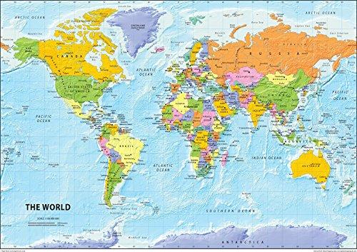 El mundo mapa político–Papel laminado–tamaño