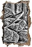 Monocrome, Brot Brötchen Frühstück Bäcker Wanddurchbruch im 3D-Look, Wand- oder Türaufkleber Format: 92x62cm, Wandsticker, Wandtattoo, Wanddekoration