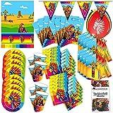 Folat Indianer Western Party Set XL 71-teilig für 8 Gäste Apachen Deko Partypaket