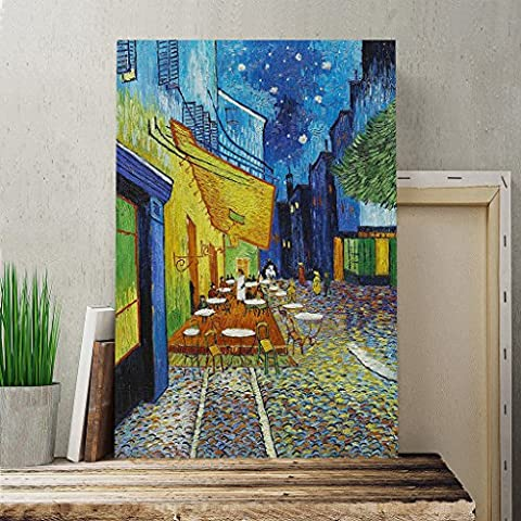 Canvas Print 40 x 28 Inch (100 x 70 cm) Vincent Van Gogh Cafe Terrace at Night - Canvas Wall Art Picture Ready to Hang - FREE DELIVERY