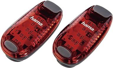 Hama LED-Sicherheitsclip-Set (Batteriebetrieb, Dauerlicht und Blinklicht, ideal für Jogger, Schulkinder, Radfahrer) 2er Pack, rot