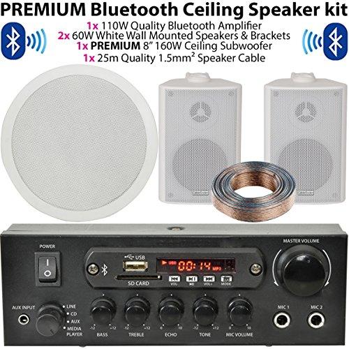 Weiß Wand montiert Lautsprecher & Subwoofer/Sub System–Bluetooth/Wireless Home Cinema HiFi Verstärker–Bar/Restaurant 2.1Surround Sound Musik Kit