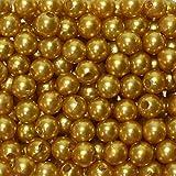 250 x Kunstperle 8mm Perlen in praktischer Plastikdisplaybox Wachsperlen Dekoperlen Bastelperlen mit Loch Kunstperlen, Farbe:gold