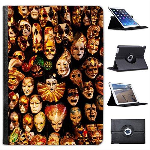 Centinaia di maschere da appendere sulla parete Custodia a Libro in finta pelle con funzione di supporto per i modelli Apple iPad nero Hundreds Of Masks Hanging On Wall iPad Air