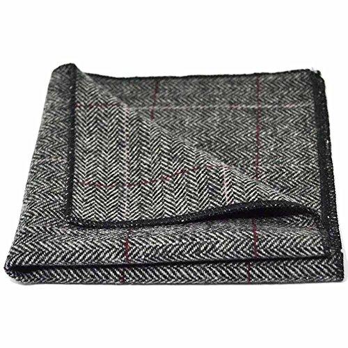 Pañuelo de Bolsillo de Lujo de Tela Tweed en Espiguilla Gris Estaño