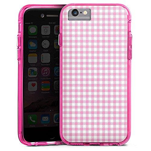 Apple iPhone 7 Bumper Hülle Bumper Case Glitzer Hülle Karo Pink Rosa Bumper Case transparent pink