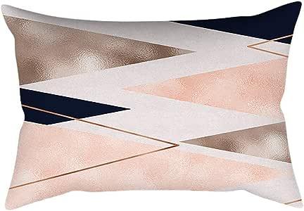 Mamum Housse de Coussin Rectangulaire Doux Geometrique Decoration Maison Chambre Restaurant Hôtel pour Canapé 30x50cm (A)