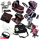 i-Safe Complete Trio Travel System Pram & Luxury Stroller - Hot Chocolate Complete With Carseat + iSOFIX Base + iSafe Luxury Bedding Complete With Mattress + iSafe Luxury Changing Bag (Black) + iSafe Parent Organizer + Footmuff + Carseat Footmuff + RainCovers