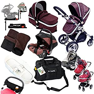 i-Safe Complete Trio Travel System Pram & Luxury Stroller - Hot Chocolate Complete With Carseat + iSOFIX Base + iSafe Luxury Bedding Complete With Mattress + iSafe Luxury Changing Bag (Black) + iSafe Parent Organizer + Footmuff + Carseat Footmuff + RainCovers   8