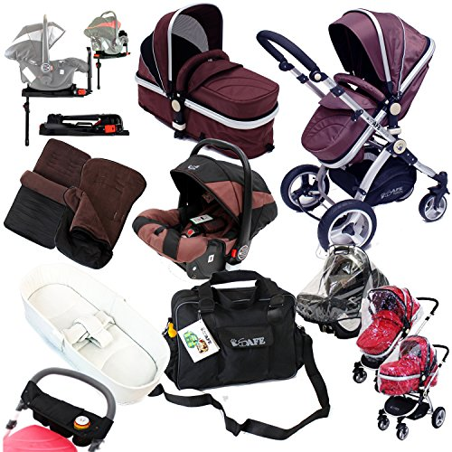 i-Safe Complete Trio Travel System Pram & Luxury Stroller – Hot Chocolate Complete With Carseat + iSOFIX Base + iSafe Luxury Bedding Complete With Mattress + iSafe Luxury Changing Bag (Black) + iSafe Parent Organizer + Footmuff + Carseat Footmuff + RainCovers 610daJxCUdL