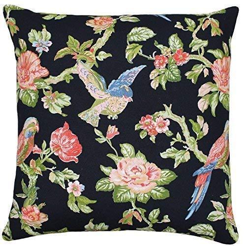 2 X Rempli Floral Fleurs Oiseaux Rose Vert Noir 100% Cotton 20 \