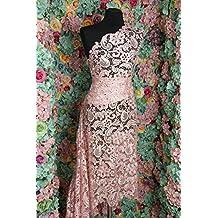 Tela de encaje color rosa G33, tela de 120 cm de ancho que se vende
