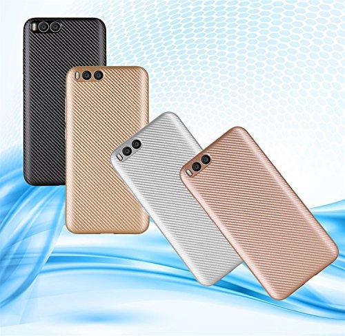 YHUISEN Xiaomi Mi6 Case, Slim Carbon Fiber Gummi Soft TPU Hybrid Shockproof Case Cover für Xiaomi Mi6 / Mi 6 ( Color : Gold ) Gold