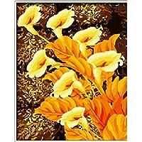 PaintingStudio oro Calla fiore DIY pittura a olio per numero kit immagine su tela decorazione (Calla Kit)