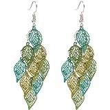A0127 Trendy - Orecchini pendenti da donna con foglie multicolore