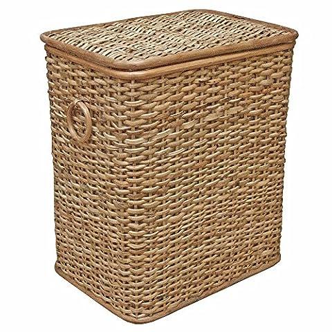Panier à linge en osier, doublé en rotin Coffre de rangement, boîte Jouet rustique, Rotin, naturel, Medium - W 45 x D 31 x H 53cm